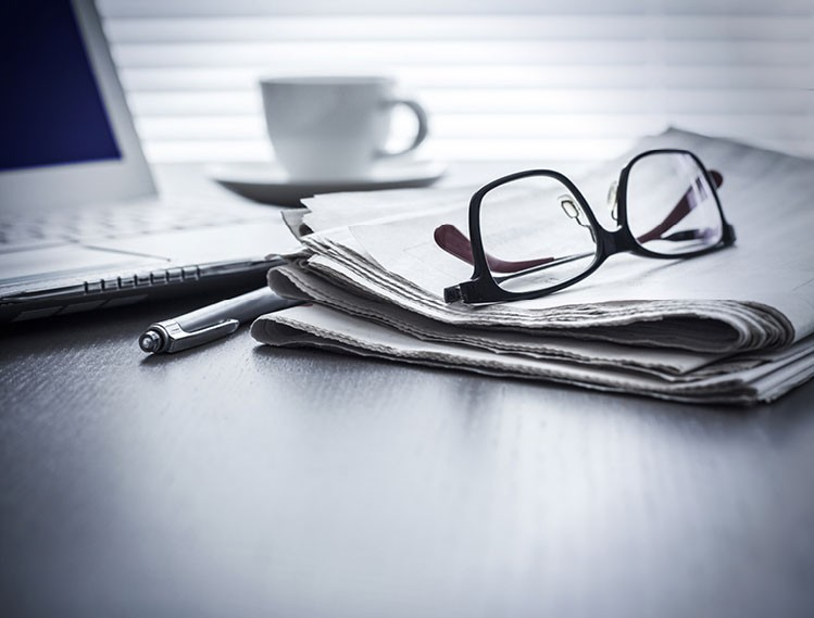 Glasses On Newspaper Header Image Text